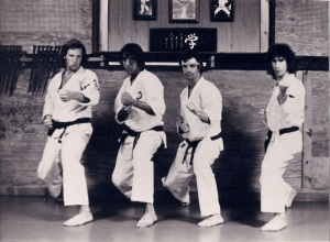 LEFT TO RIGHT - TONY LEONARD, LOU CORREA, ART MCCONNELL, TOM SILVINO AT THE OKANO/TOZAI DOJO, HIGHLAND RD. GLEN COVE NY 1973