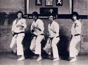LEFT TO RIGHT - TONY LEONARD, LOU CORREA, ART MCCONNELL, TOM SILVINO AT THE OKANO/TOZAI DOJO, HIGHLAND RD. GLEN COVE NY 1973