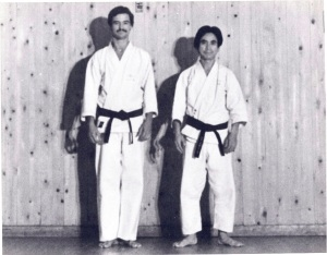 SENSEI MCCONNELL WITH MASTER OKANO AT THE KENJOJUKU HOMBU, HACHIOGI CITY, JAPAN 1971